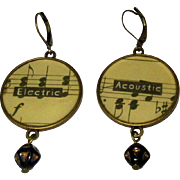 Music Staff Earrings, Vintage Guitar, Acoustic / Electric