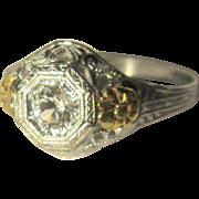 OB Filigree Ring, Sapphire, 10K Maltese Cross, Vintage