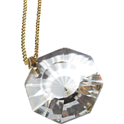 Crystal Pendant Necklace, 1960's, 18K GP Chain