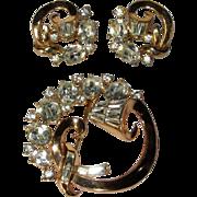Crown Trifari Rhinestone Brooch & Earrings, 50's Atomic Demi Parure