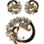Crown Trifari Rhinestone Brooch & Earrings, 50's Atomic Demi Parure