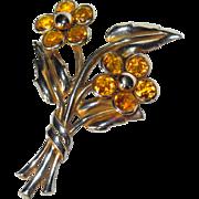 Trifari Double Blossom Crystal Fur Clip - Floral 1941
