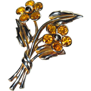 Trifari Double Blossom Crystal Fur Clip - Floral 1941