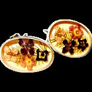 Sterling Crystal Earrings, Straw Flowers in Cabs
