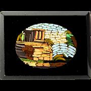 Micro Mosaic Brooch Roman Ruins, Italian Victorian, Grand Tour