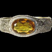 Rhodium Filigree Bracelet, Art Deco Rhinestone Vintage