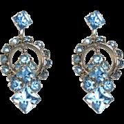 Vintage Rhinestone Earrings, Hoops, Blue Screw Backs, 50's