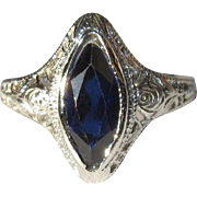 Ostby Barton Filigree Ring, 10K WG, Art Nouveau