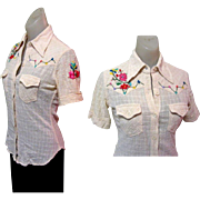 Embroidered Rockabilly Shirt, Women's Gauze 60's
