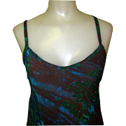 Batik Sundress, Tie Back, Vintage Bias Cut
