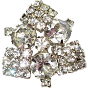 Rhinestone Brooch, Vintage Diamante Pin 50's