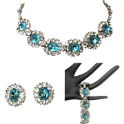 Bogoff Rhinestone Parure, Vintage Necklace, Bracelet, Earrings, 1940's