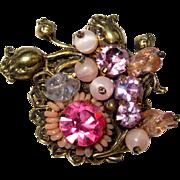 Vintage Rhinestone Pin, Crystal Filigree Brooch, 1940's