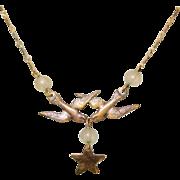 Victorian Revival Necklace, Love birds, Vintage 70's