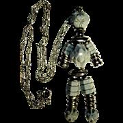 Vintage Robot Necklace, Lucite Figural 1980's