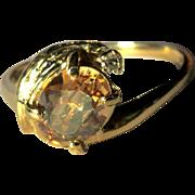 Vintage 14K Diamond Ring, Topaz Synthetic, 1960's
