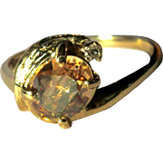 Vintage 14K Diamond Ring, Topaz Synthetic, 1960's