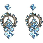 Vintage Rhinestone Earrings, Hoops, Blue Screw Backs, 50's