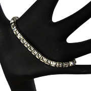 Sterling Rhinestone Bracelet, Vintage Link, 20's Tennis Bracelet