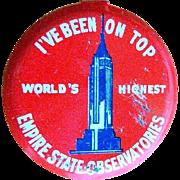 Vintage Empire State Building Button, Fold Over Souvenir