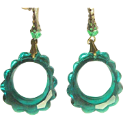 Vintage Hoop Earrings, Clear Emerald Green Plastic, Faceted & Scalloped