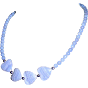 Blue Art Glass Heart Necklace, Vintage Sweetheart