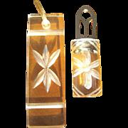 Mid Century Necklace & Fur Clip, Lucite Set