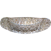 Glass Canoe Candle Holder, Fenton Daisy & Button, Depression Era