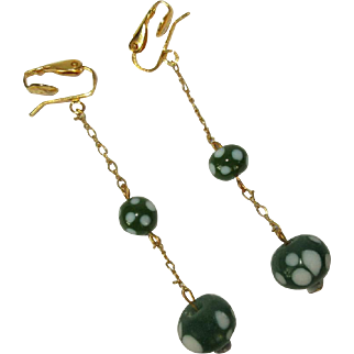 Vintage Drop Earrings, Glass Beads, Polka Dots