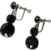 Vintage Earrings, Crystal Jet, Faceted Stones, Screw Backs, 40's.