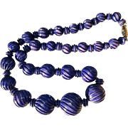 Vintage Necklace, 1970's Carved Beads, Deep Blue