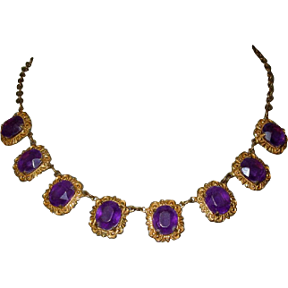 Purple Stone Necklace, Vintage Lucite or Plastic, Repousse Frames.