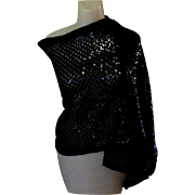 Black Sequined Stole, Vintage Echo, 1960's Wrap