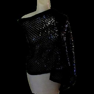 Black Sequined Stole, Vintage Echo, 1960's Wrap