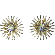 Vintage Atomic Earrings, Rhinestone Star Bursts, 1950's Clips