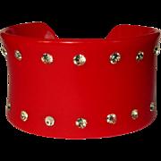 Rhinestone Cuff, 1950's Vintage Red Plastic
