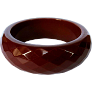 Bakelite Faceted Bangle Bracelet, Chunky Vintage Deco