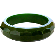 Bakelite Faceted Bangle Bracelet, Green Vintage Deco