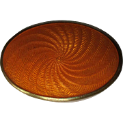 Guilloche Enamel Pill Box, Snuff Box, Deco, Germany, Orange