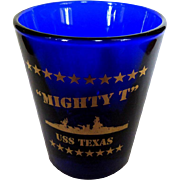 USS Texas Vintage Shot Glass, Mighty T Battleship