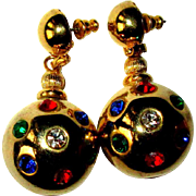 Vintage Rhinestone Earrings, 60's Disco Balls