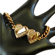 Twin Hearts Bracelet, Vintage Copper