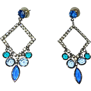 Crystal Earrings, 1960's Rhinestone Geometric, Vintage Drops