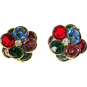 Vintage Crystal Earrings, 1950's Jewel Tones, Rhinestone Floral