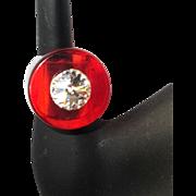 Vintage Lucite Ring, Rhinestone, 70's Modernist