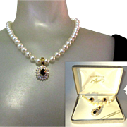 Vintage Necklace & Earring Set, Enhancer, Too, Rhinestones & Glass Pearls