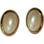 Vintage Earrings, Faux Pearl Clip on, 80's