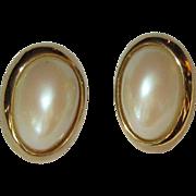 Vintage Earrings, Faux Pearl Clip on, 80's