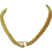 Chain Necklace & Bracelet, Handsome Set, Chunky Gold Toned, 80's