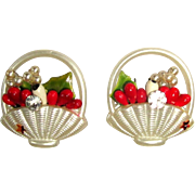 Vintage Rhinestone Earrings, Floral Basket, 50's